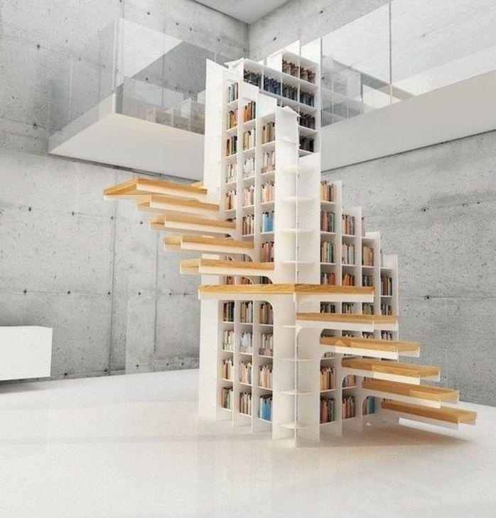 Escalier Moderne, Design Original Escalier Organisé Autour Du0027une  Bibliothèque
