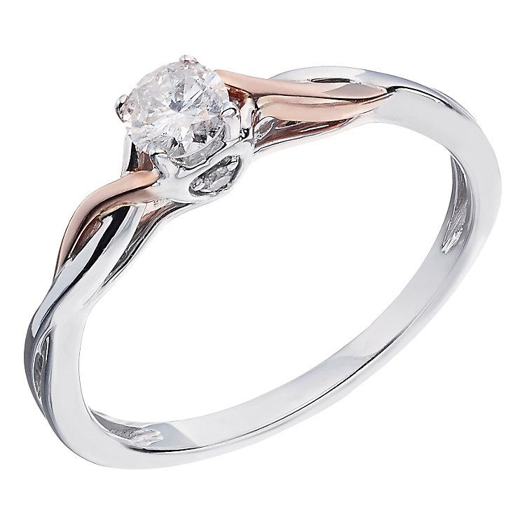 9ct White & Rose Gold Quarter Carat Diamond Solitaire Ring