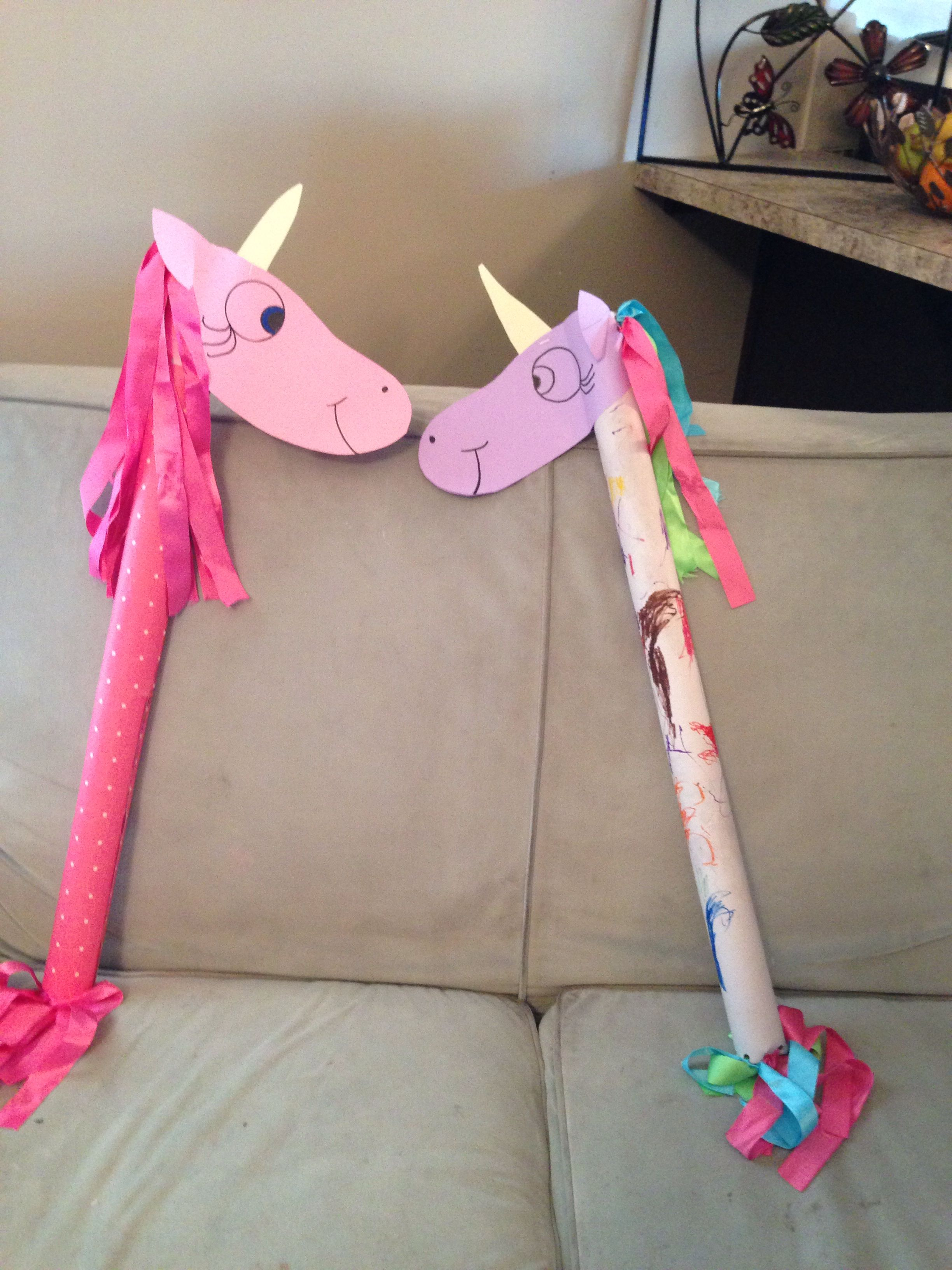 Easy To Make Stick Unicorn Or Horse Made Using A Wrapping Paper Tube Card Stock And Ribbons