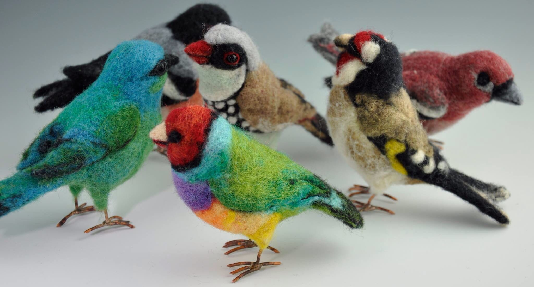 Needle felted finches by Jennifer Field Studios 2015