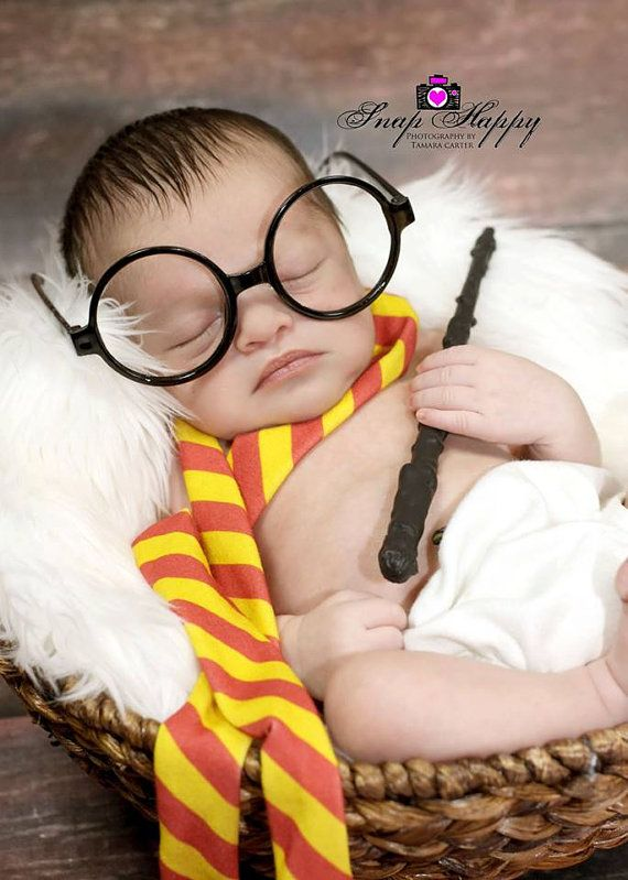 Harry potter photography prop wand scarf potter glasses newborn props newborn photography baby potter baby potter glasses