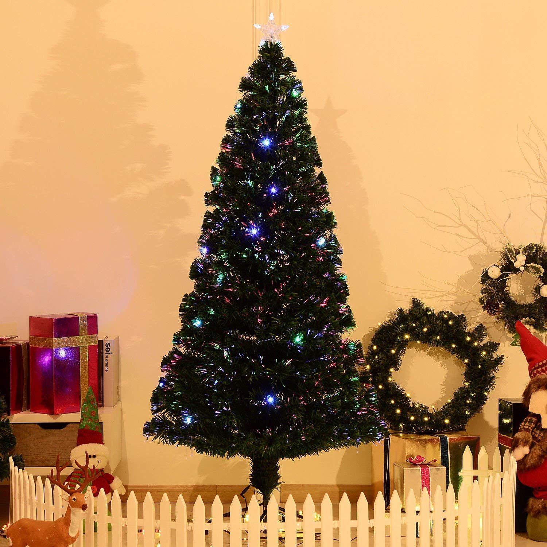 cf0ffe1cbdaf0 7  Artificial Holiday Fiber Optic   LED Light Up Christmas Tree w  8 Light  Settings and Stand  Home   Kitchen. Amazon.com