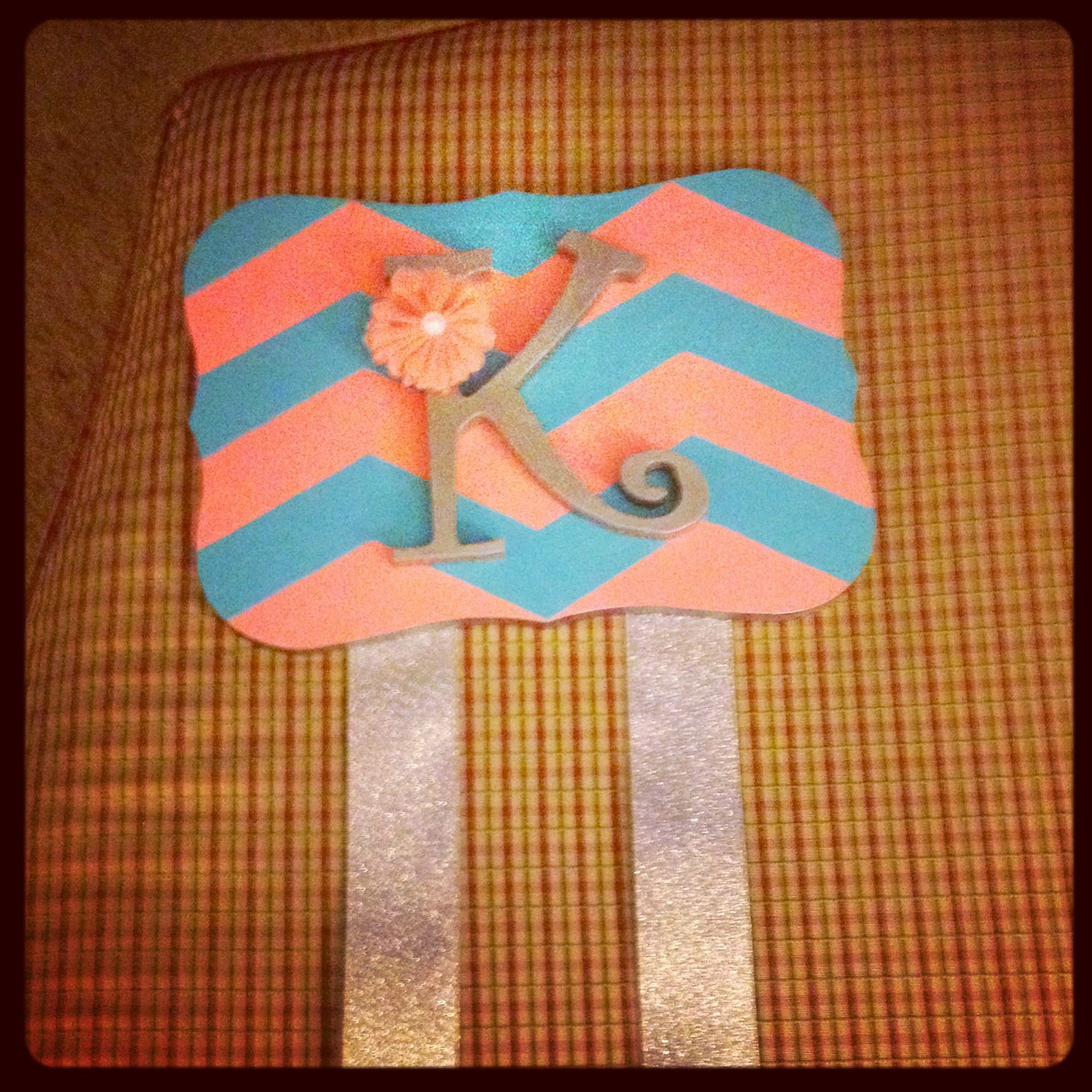 Chevron bow holder. Made a grid for the chevron, hand painted, and added letter and accessories!