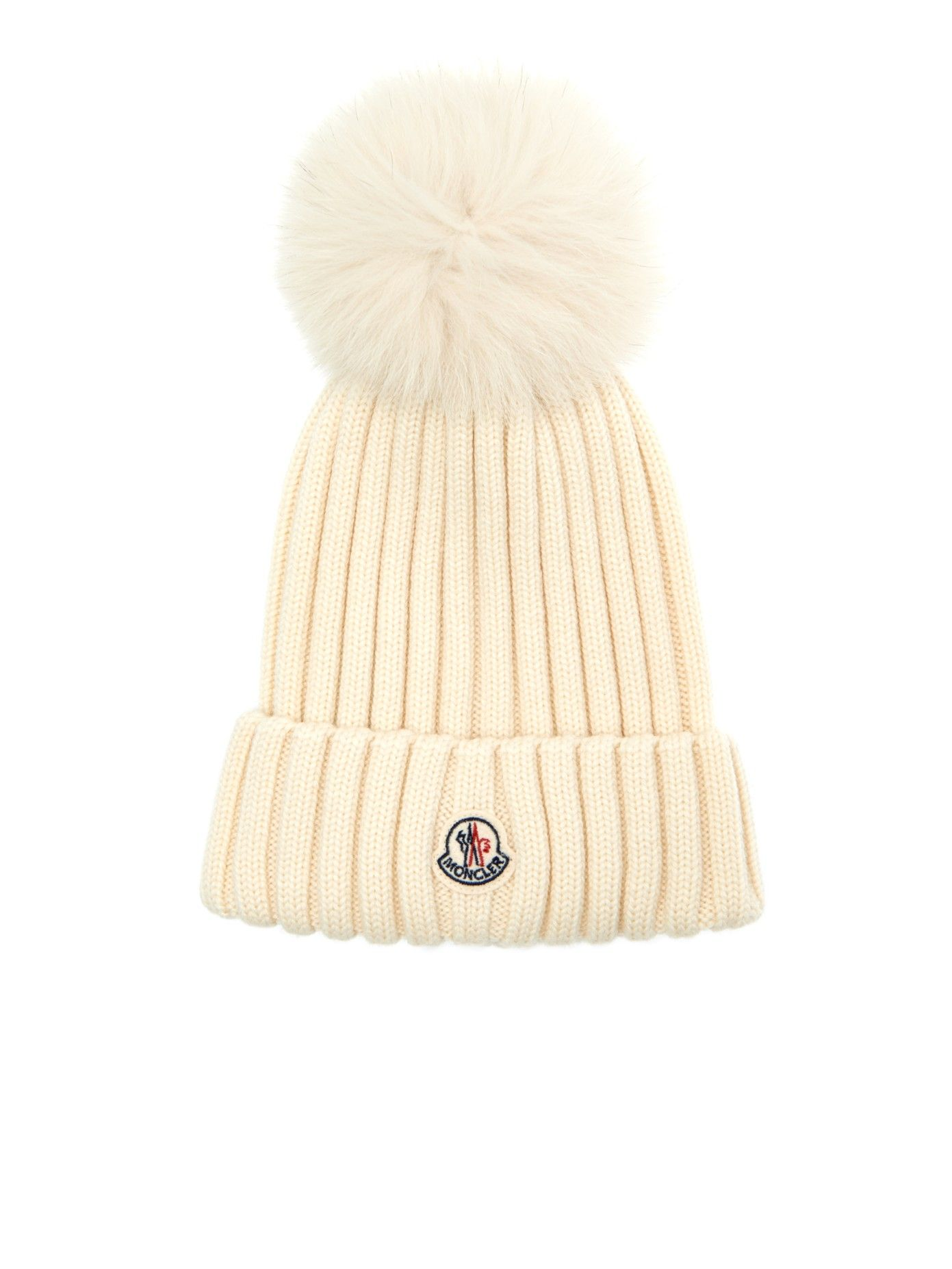 ad893e9f1 Fox-fur pom-pom knitted hat
