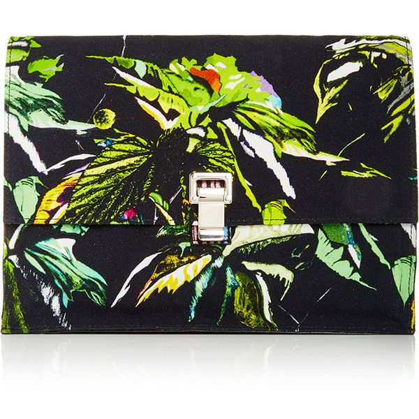Proenza Schouler Leather and Tropical Printed Large Lunch Bag Clutch (1,195 CAD) ❤ liked on Polyvore featuring bags, handbags, clutches, proenza schouler handbag, leather clutches, real leather purses, leather purse and proenza schouler pochette