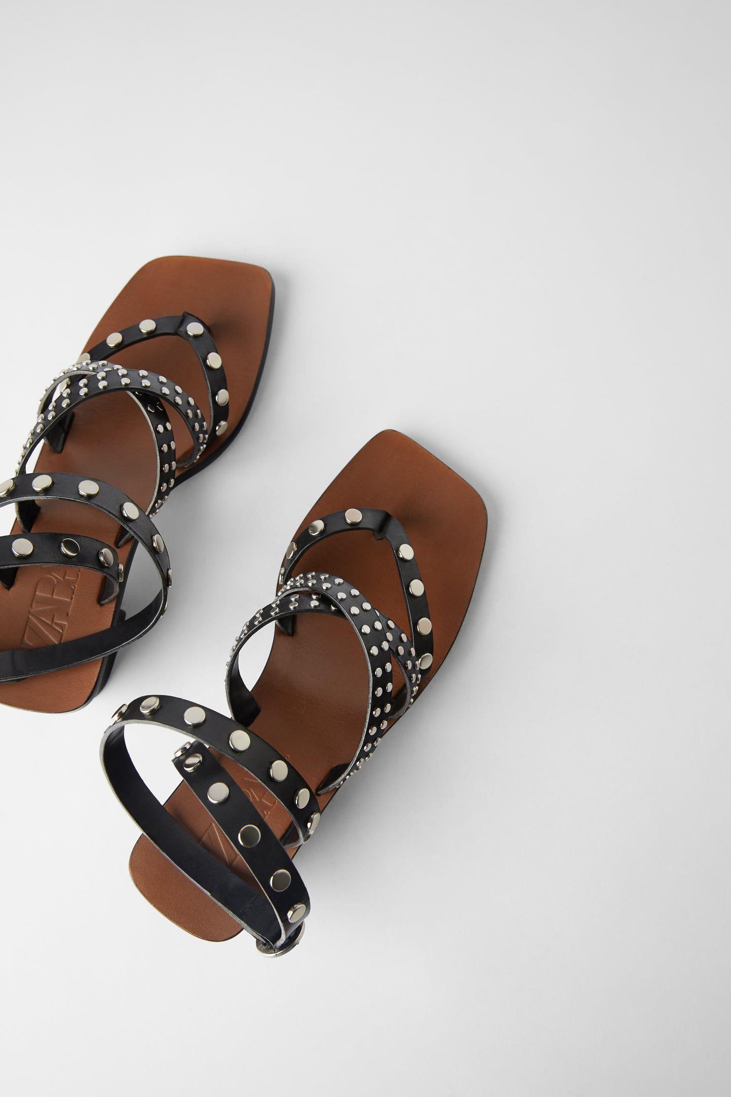 Zara Vinyl Sandal With Ties