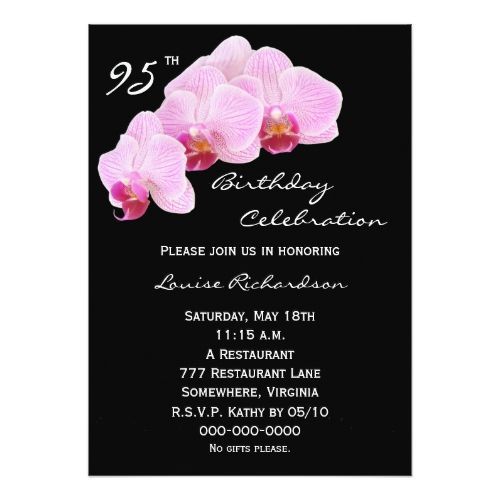 95th Birthday Party Invitation Orchids