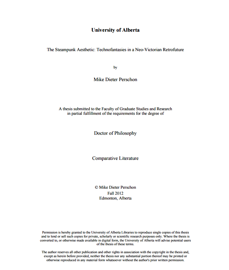 Perschon Mike D The Steampunk Aesthetic Technofantasie In A Neo Victorian Retrofuture University Of Alberta Comparative Literature Library Ohio State Dissertations