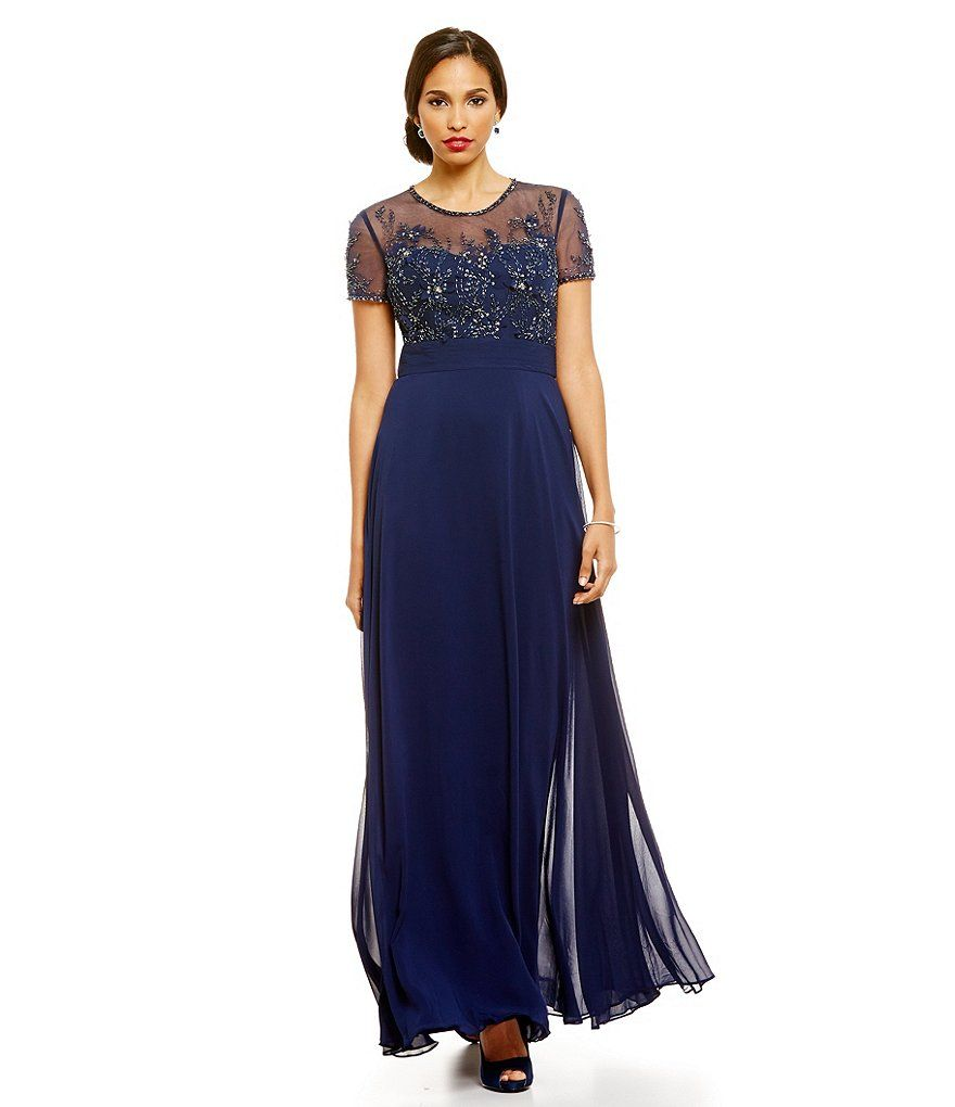 JS Collections Embellished Floral-Lace Gown | Mother of the bride ...