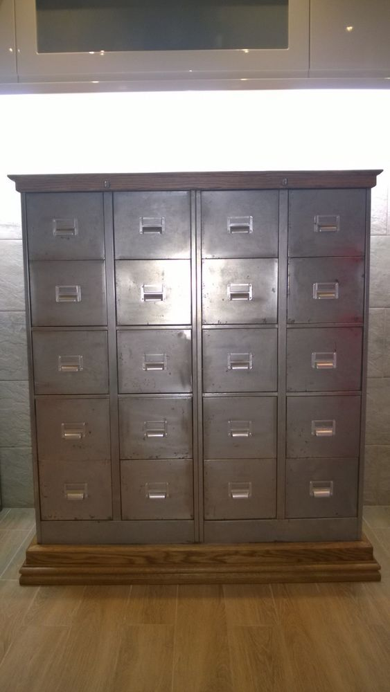 Vintage Retro Upcycled Polished Multi Drawer Metal And Wood Filing CD  Cabinet In Business, Office U0026 Industrial, Office Equipment U0026 Supplies, ...