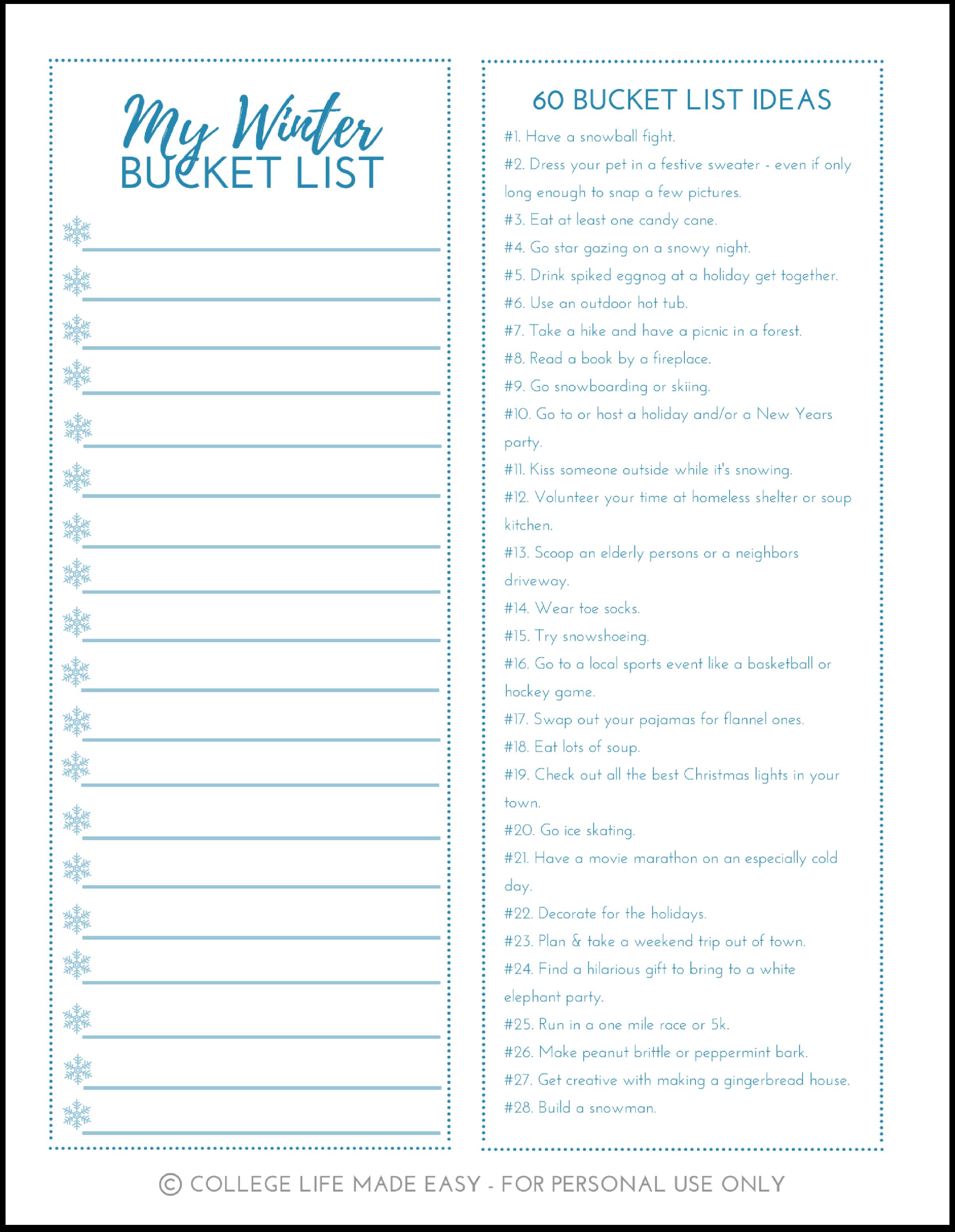 Free Printable Winter Bucket List Worksheets