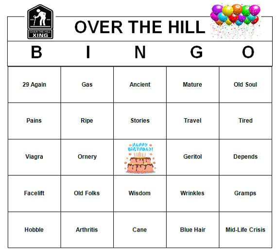 Over The Hill Birthday Party Bingo Game 60 By