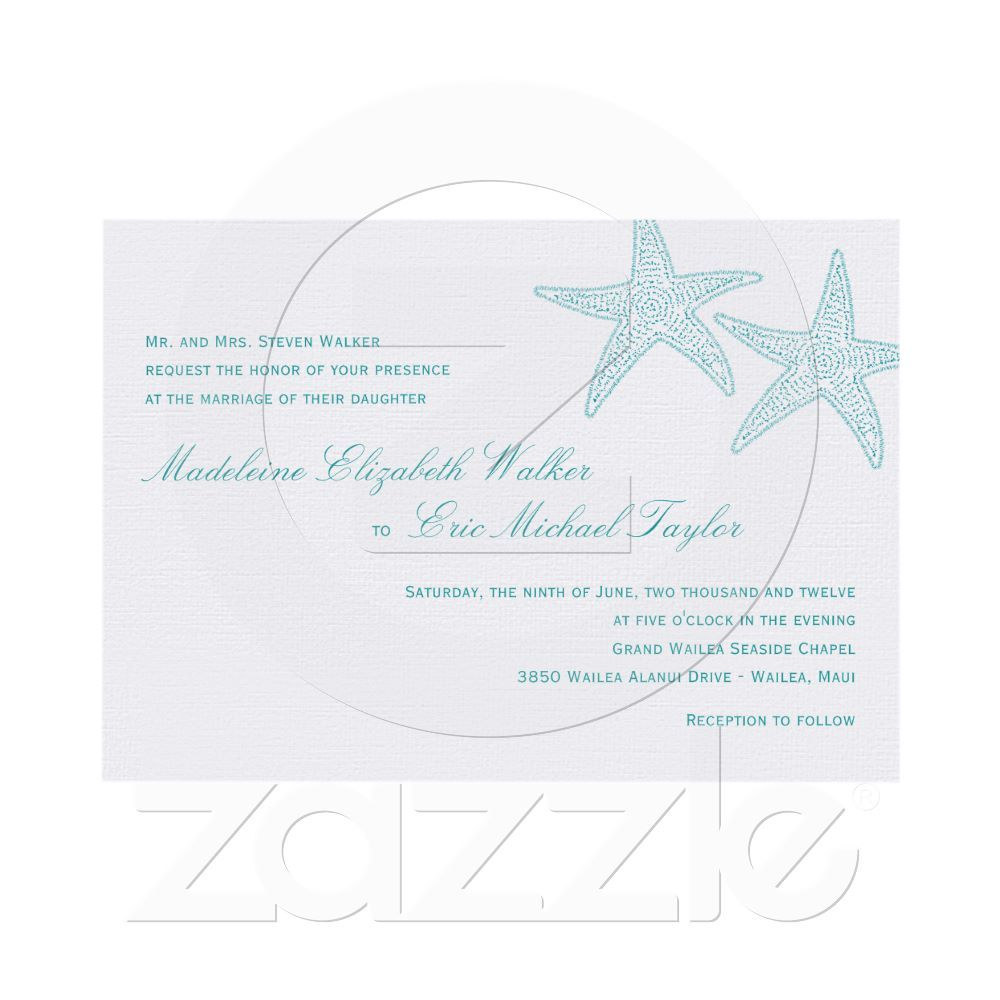 Starfish Wedding Invitation Turquoise