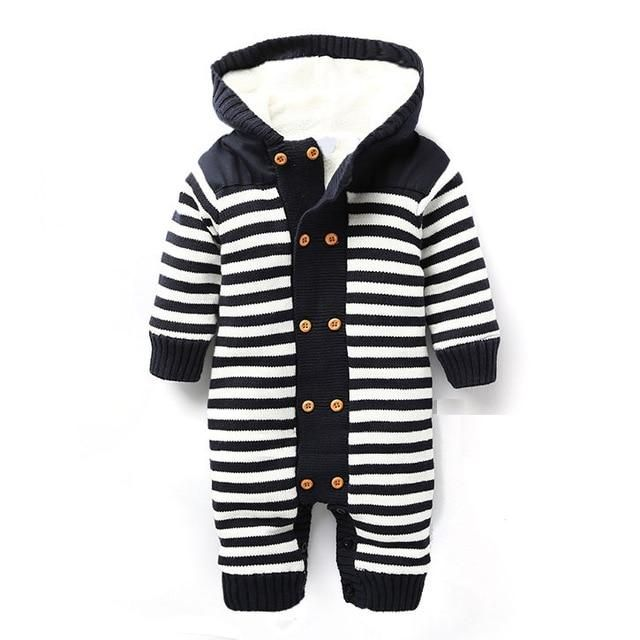 Photo of Newborn Autumn Baby Rompers Thickened Winter Striped Hooded Knitted Sweater Warm…