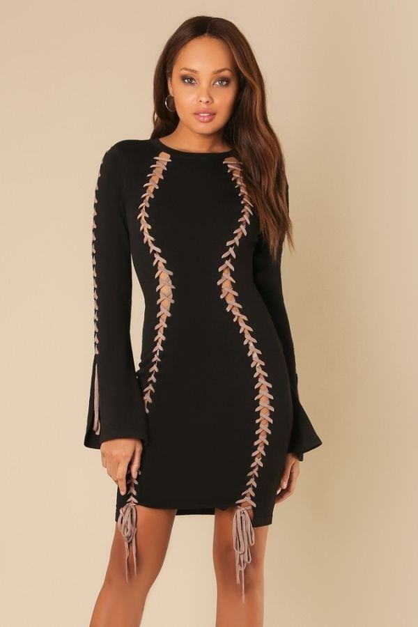 e02801f6e4 DONATELLE  Bell Sleeve Contrast Lace up Sweater Dress