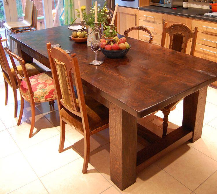Bespoke Handmade Oak Refectory Kitchen Table