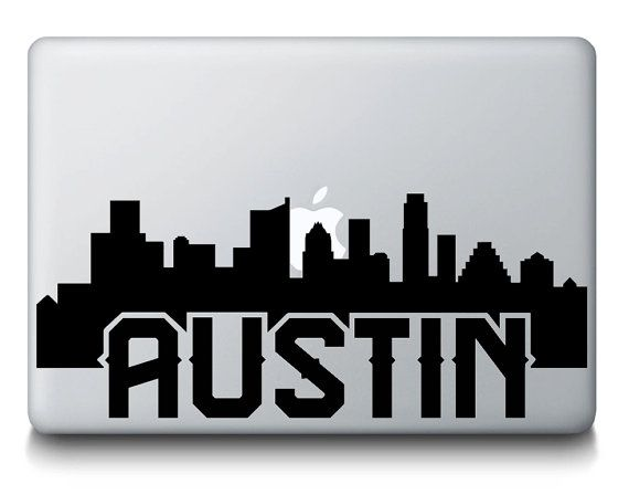 Austin texas skyline city silhouette macbook vinyl decal sticker