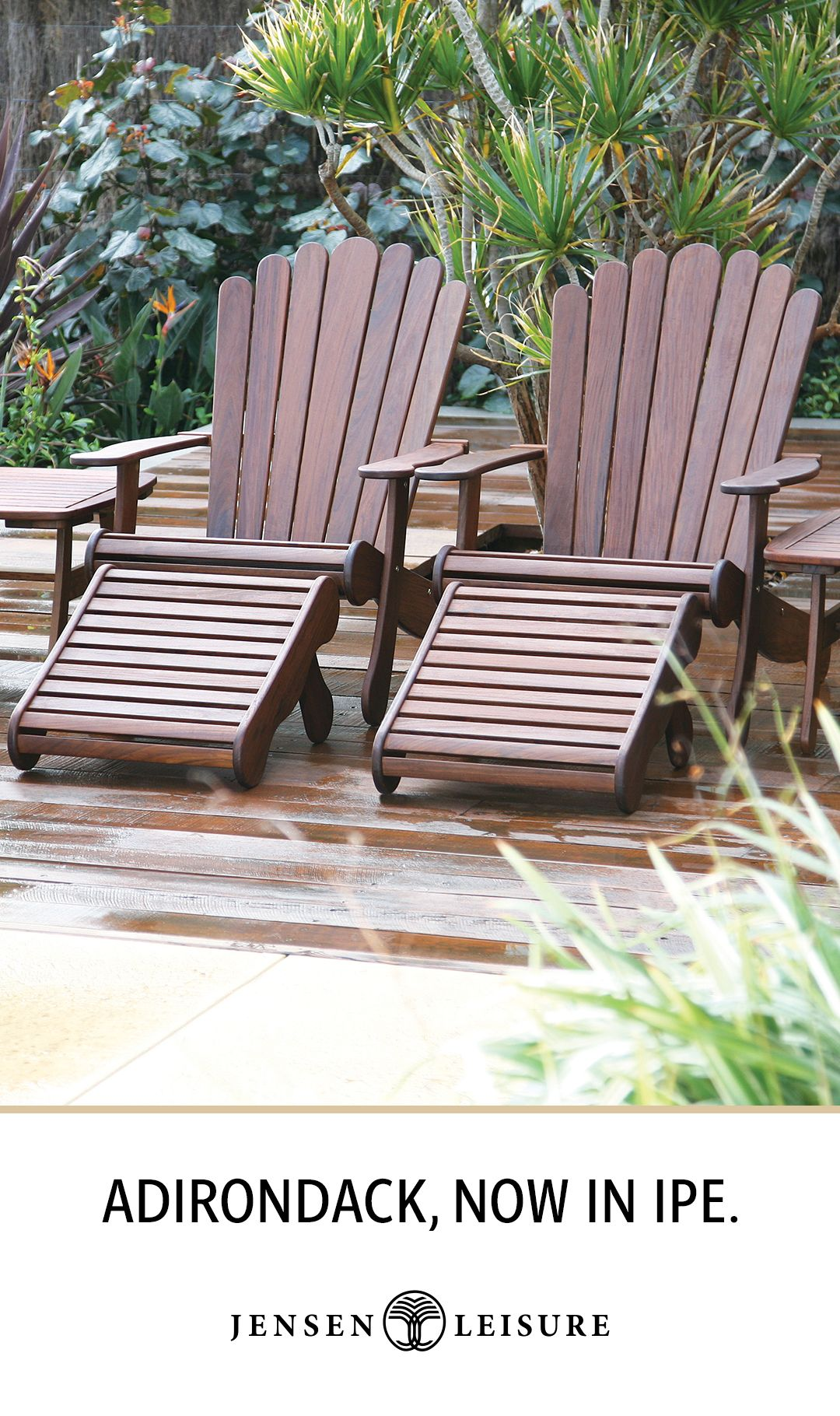 Ipe Wood Adirondack Chair And Footrest From Jensen Leisure Wood Patio Furniture Outdoor Patio Furniture Concrete Patio Makeover