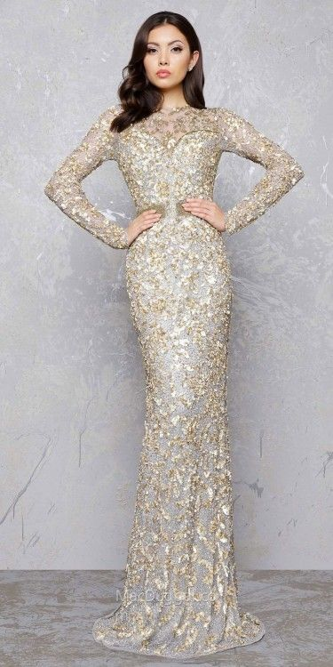 ee6f690e2c4b Mac Duggal Gold Branch Keyhole Evening Dress | Bride to be in 2019 ...