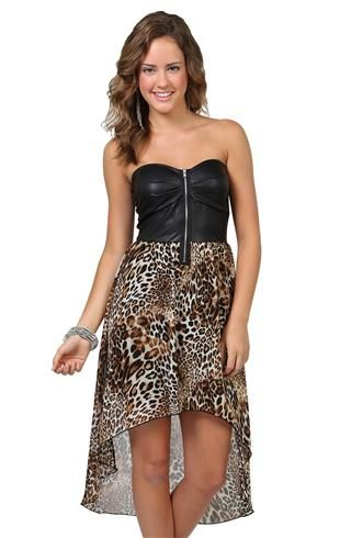 93ebc16490c strapless leather bodice with exposed zip front and cheetah print chiffon high  low skirt