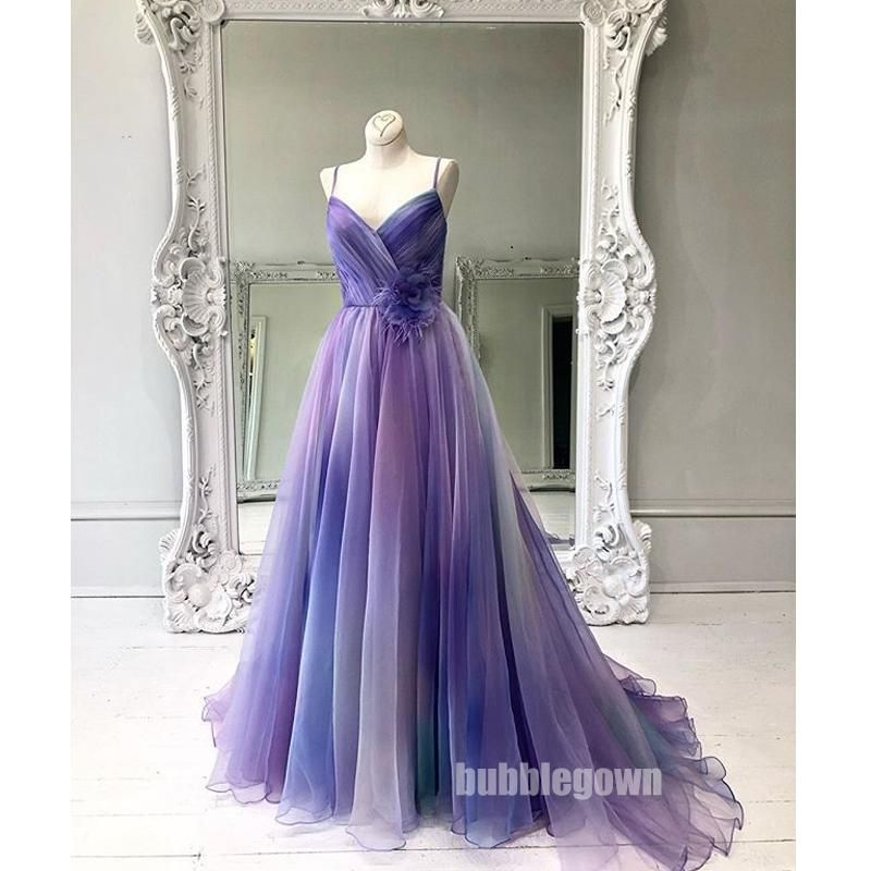 Gradient Spaghetti Strap Formal A Line Long Prom Dresses