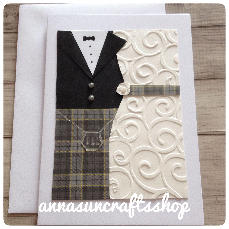 Scottish tartan wedding dress  Scottish Tartan Wedding Card Tartan Wedding Card Purple Tartan