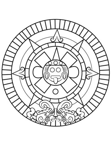 Piedra del Sol Azteca Dibujo para colorear | MEXICO | Pinterest ...