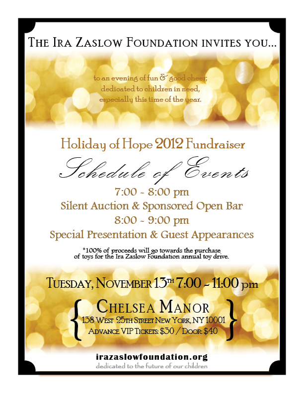 holiday of hope fundraiser invitation november 13 at chelsea manor in nyc