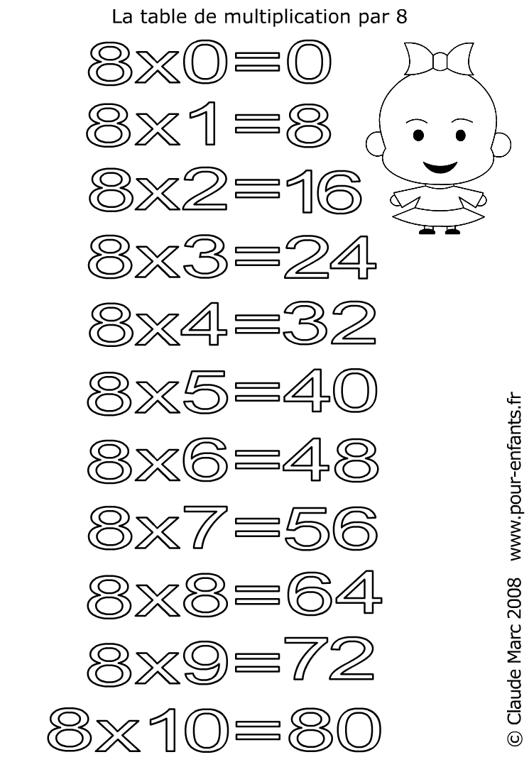 Coloriage table de multiplication par 8 imprimer les for Multiplication de 8