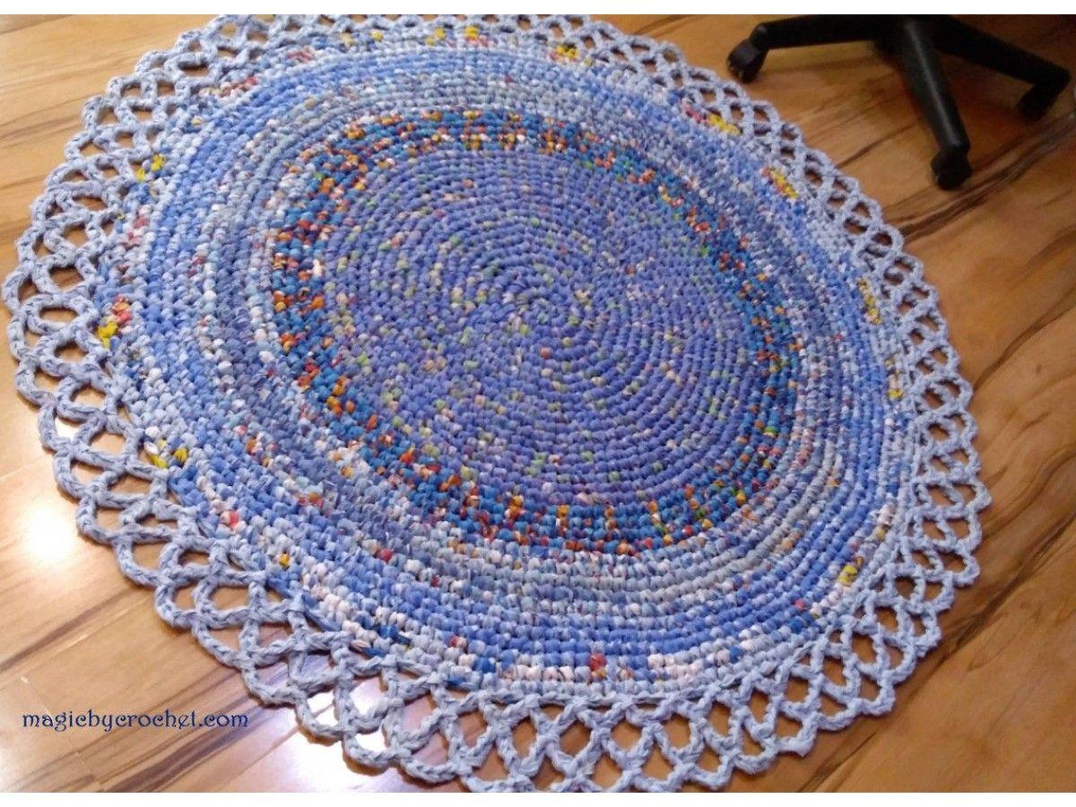 Rag Rug Blue Rug Doily Rug Handmade Rug Nursery Rug Round Rug Crochet Rug 125 Cm Ready To Ship Blue Rug Round Rugs Rugs