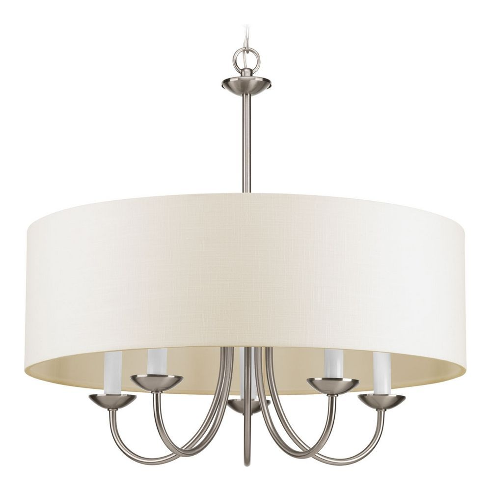 Drum pendant light with beige cream shades in brushed nickel drum pendant light with beige cream shades in brushed nickel finish at destination lighting mozeypictures Gallery