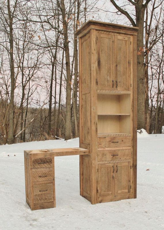 Superb Rustic Linen Cabinet W/Makeup Vanity   Reclaimed Barn Wood (Unfinished)  #9055