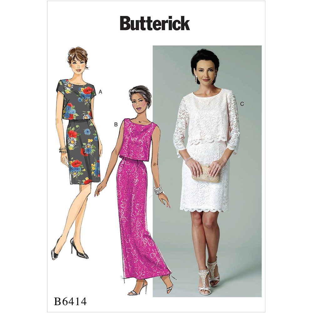 Misses Overlay-Bodice Dresses Butterick Sewing Pattern 6414 | art ...