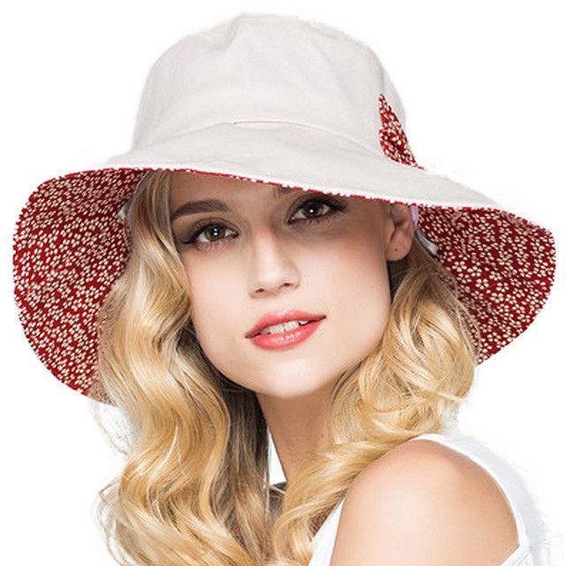 3f6d00da4 Women's Elegant Wide-Brim Cotton Floppy Reversible Summer Beach Hat ...