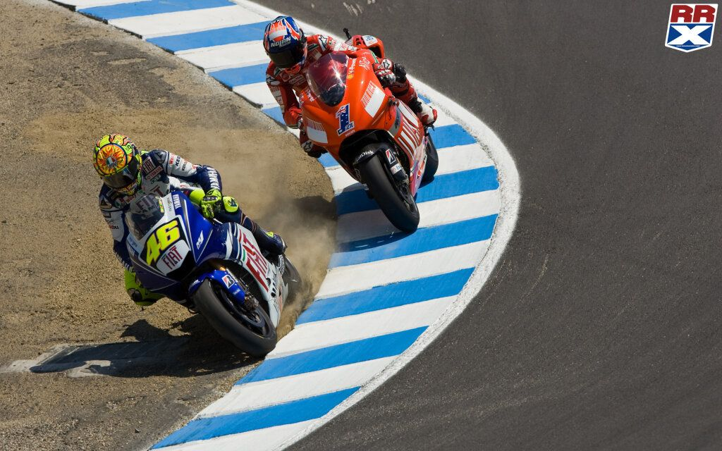 Rossi and Stoner, Moto GP battle for the ages, 2008, Laguna Seca