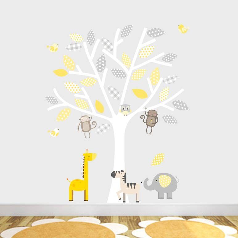 Grey And Yellow Safari Fabric Wall Stickers Nursery Wall