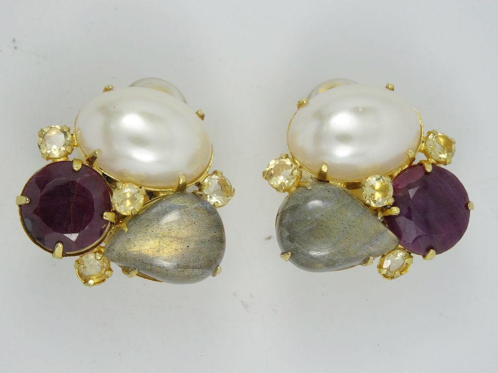 Stunning Signed Bounkit Cer Gemstone Earrings 1 25