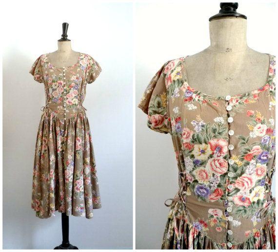 Vintage Annees 80 90 Rene Derhy Paris Robe Mi Longue Beige Etsy Vintage Dresses Midi Dress
