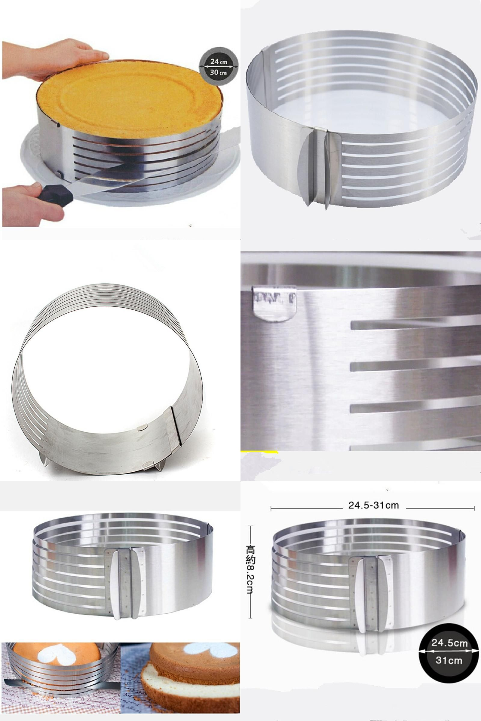 [Visit to Buy] Cutter  Metal Circle Adjustable Stainless Steel  Mousse Cake Layer Cut Tools Cake Slicer Device Mold Bakeware Cooking Cake Tools #Advertisement