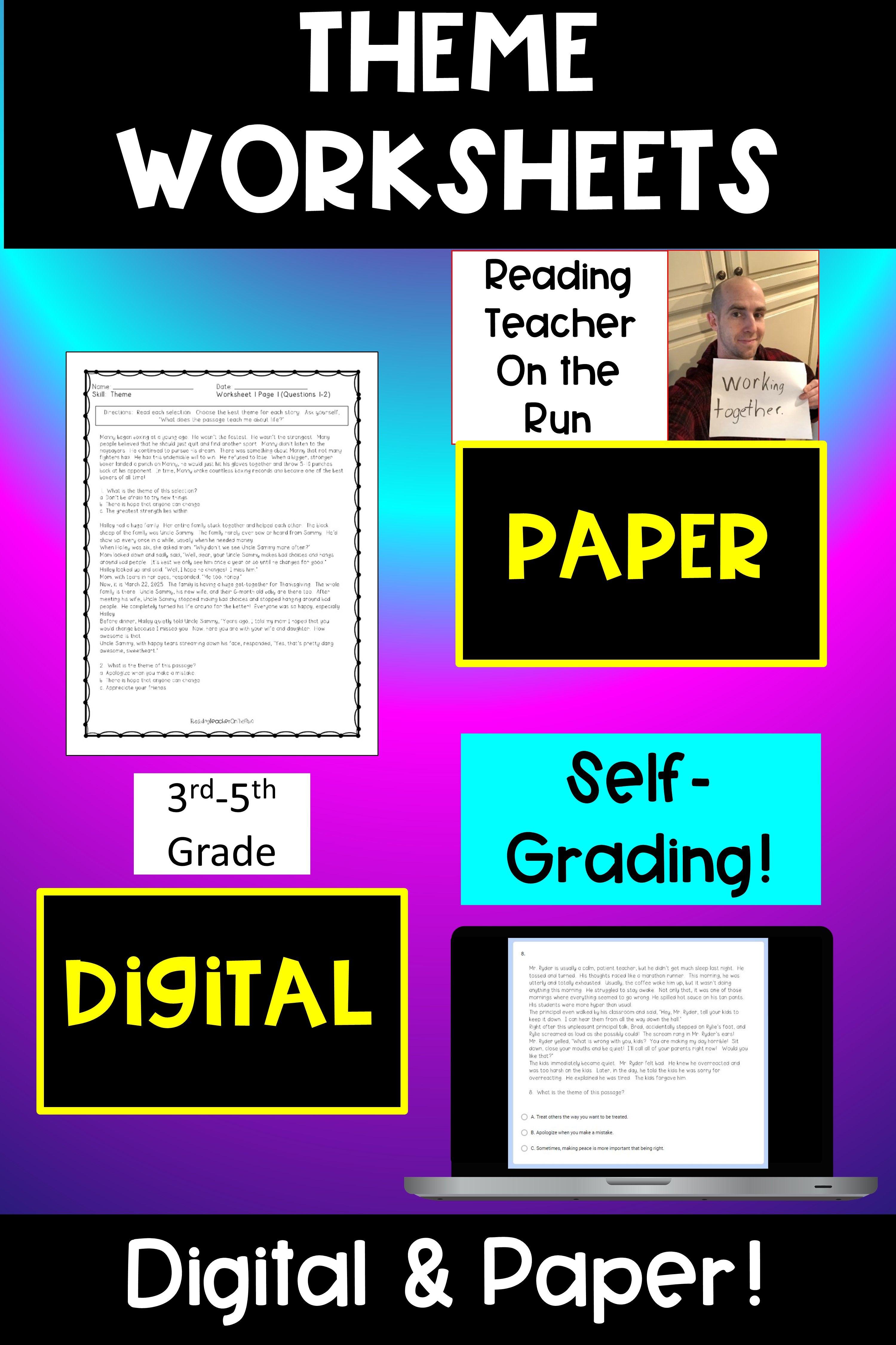 Digital Print Theme Worksheets In 2020 3rd Grade Reading 4th Grade Reading Worksheets