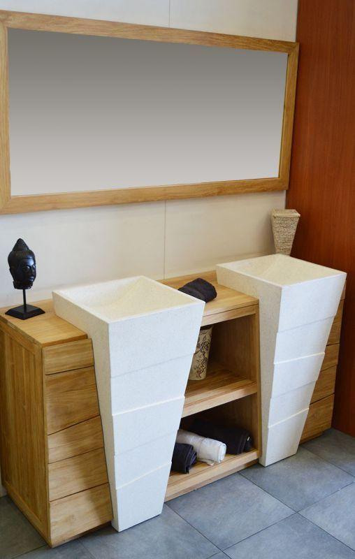 Meuble Salle De Bain En Teck 140 Cm Avec Double Vasque Pedestal Blanc Terrazo Meuble Salle De Bain Meuble Salle De Bain Une Vasque Salle De Bain Teck