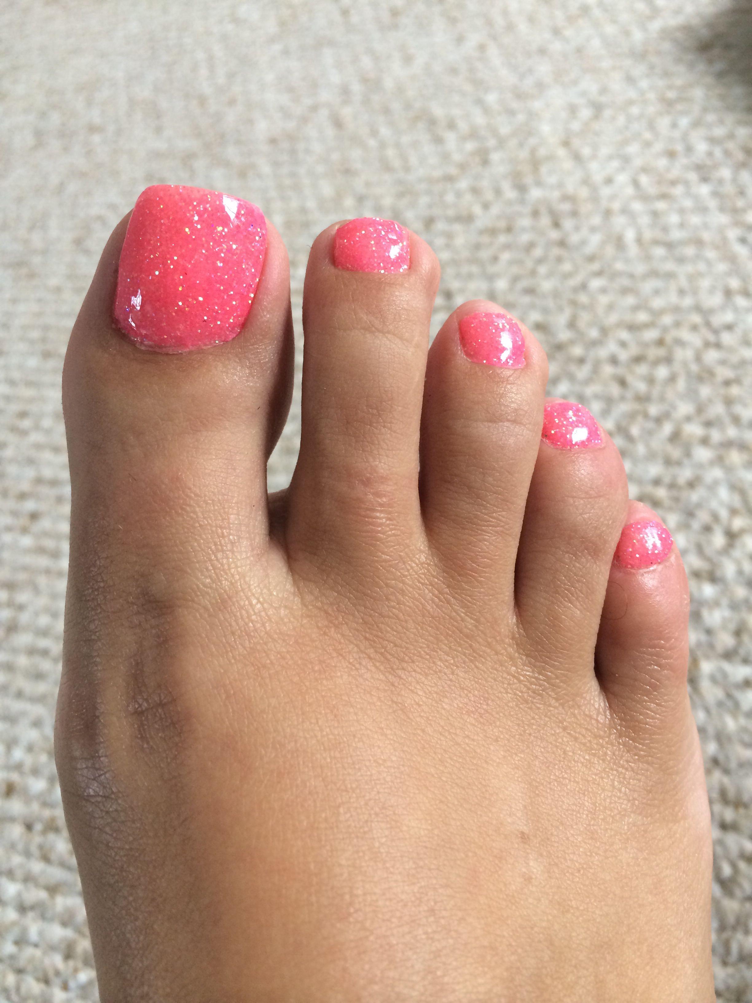 Shellac nails Rockstar toes Rockstar nails Glitter Pink glitter ...