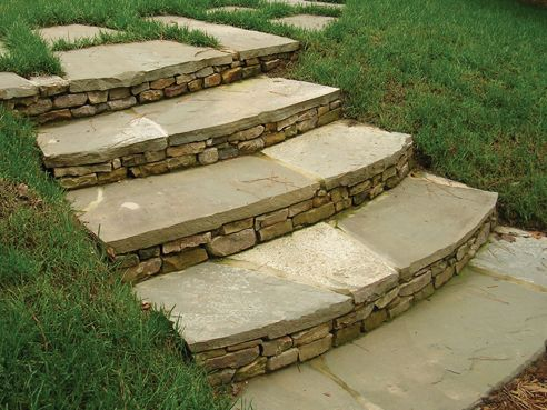 Irregular Bluestone Step Treads With Stacked Stone Risers | Outdoor Stone Stair Treads | Deck | Curved | Backyard | Unique | Stone Veneer