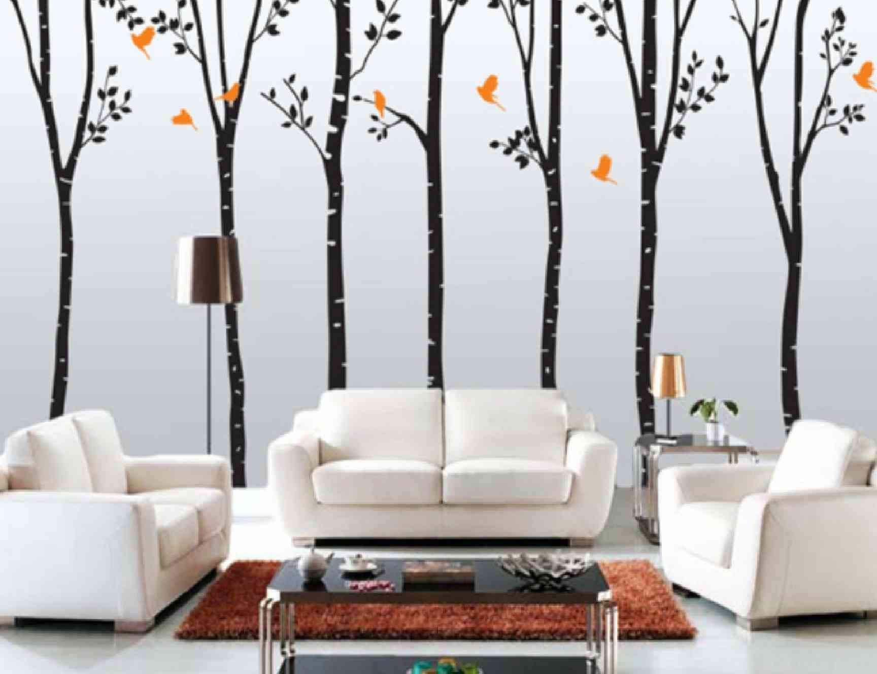 Tree Design Wallpaper Living Room Interior Decorative And Unique Arts For Black And White Wall