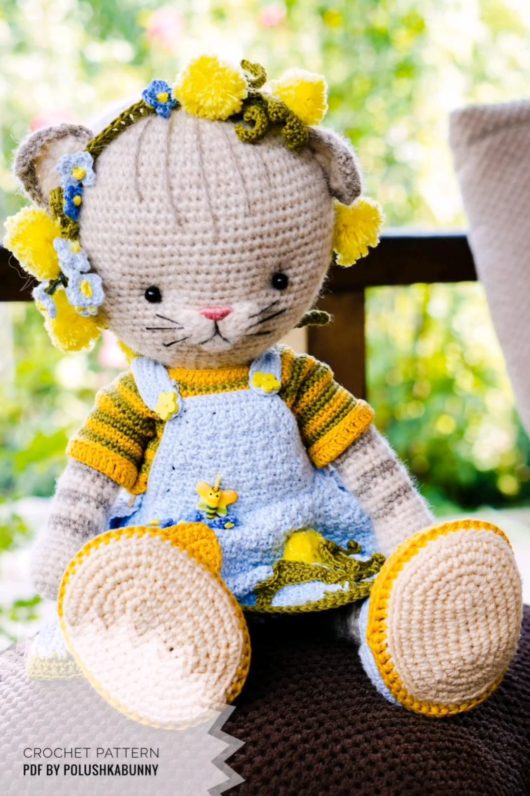 Doll crochet clothes patterns PDF - Outfit Farmgirls for Cat toy by PolushkaBunny #cat #farm #cloth