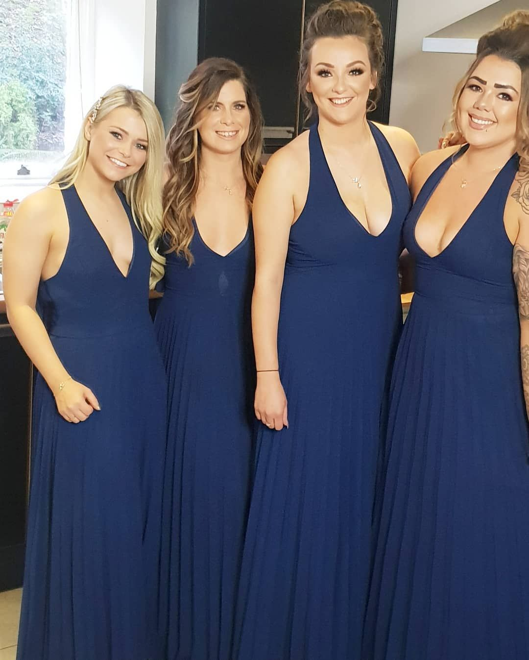 Sexy Navy Blue Chiffon Long Bridesmaid Dress #navyblueshortdress