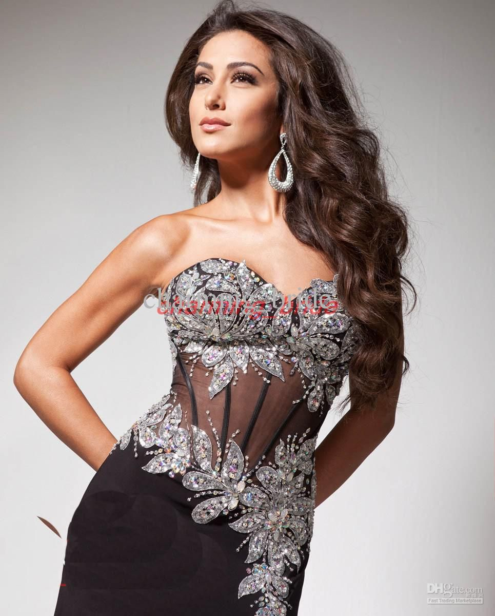 Tony bowls black prom dresses sweetheart crystal corset bodice sheer