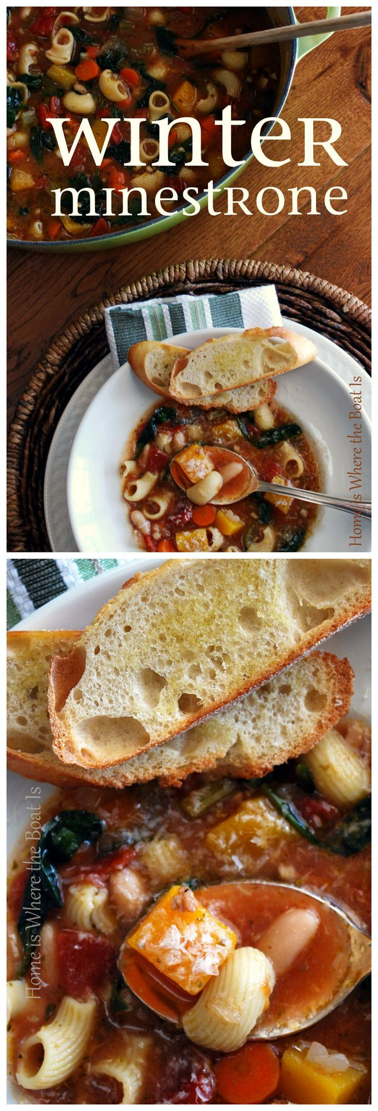 Ina Garten's Winter Minestrone! I can't say enough good things about this soup recipe...foolproof, hearty, comforting, but the proof is in the bowl! | http://homeiswheretheboatis.net #souprecipe #barefootcontessa #minestrone