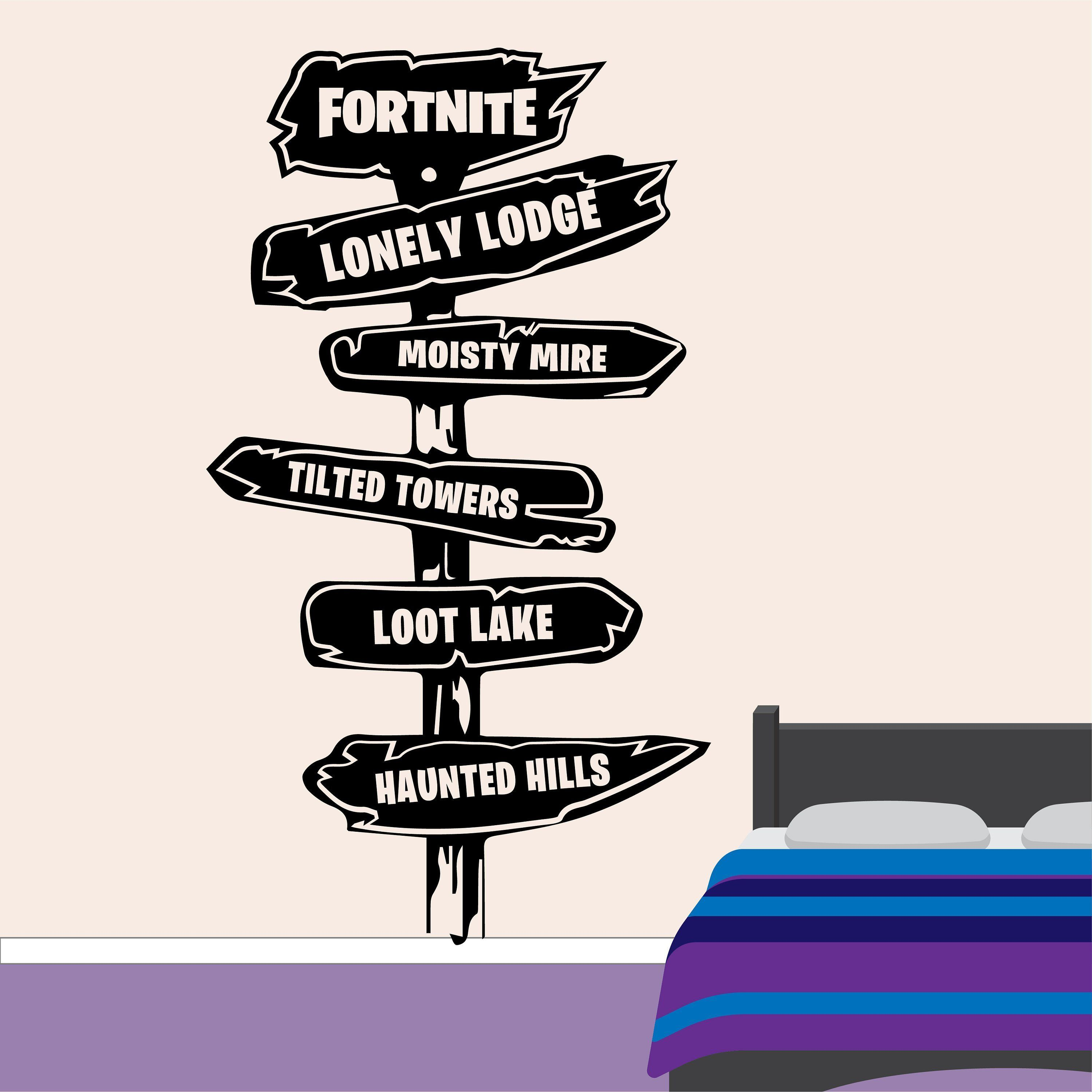 fortnite signpost wall sticker ps4 xbox gaming on wall stickers for bedroom id=26942