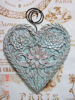 Tiffany Blue DAISY FLOWERED HEART Folk Art Primitive Springerle Wall Art German